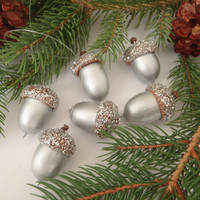 6 Real Acorn Christmas Tree Ornaments Silver with Silver Glitter Caps / Handmade by FeistyFarmersWife