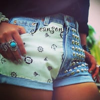 Anchor shorts,high waisted studded shorts,levis anchor denim shorts by Jeansonly