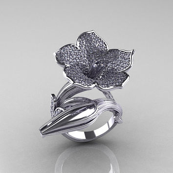Designer Exclusive 14K White Gold Diamond Angels Trumpet Flower and Vine Ring NN123-14KWGD