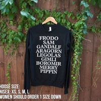 Unisex LOTR Fellowship of the Ring Sweater - Choose Size - MADE to ORDER - American Apparel - Lord of the Rings/Hobbit Sweater