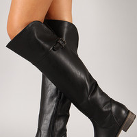 Buckle Round Toe Riding Boot
