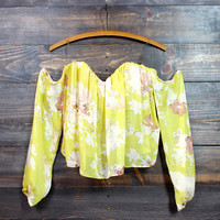 yellow summer floral off the shoulder gypsy top
