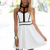 BREEZE DRESS , DRESSES, TOPS, BOTTOMS, JACKETS & JUMPERS, ACCESSORIES, 50% OFF END OF YEAR SALE, PRE ORDER, NEW ARRIVALS, PLAYSUIT, COLOUR, GIFT VOUCHER,,White,CUT OUT,SLEEVELESS,MINI Australia, Queensland, Brisbane