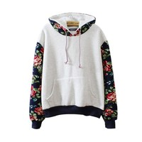 Mebarra Women Thick Warm Floral Printed Long Sleeve Hooded Pullover Sweatshirt (Gray)