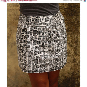 ON SALE Black and White Abstract  Mini Skirt with Two Pockets