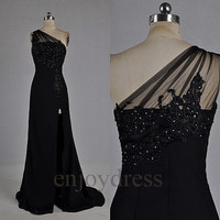 Custom Black Beaded Applique One Shoulder Long Prom Dresses Formal Evening Gowns Wedding Party Dresses Formal Party Dresses Formal Dresses