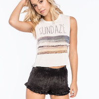 Full Tilt Sundaze Womens Crop Muscle Tank Cream  In Sizes