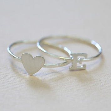 Secret love sterling silver stackable rings