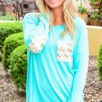 TALK SEQUINS TO ME TOP IN TEAL
