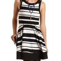 Black/White Striped Pleated Skater Dress by Charlotte Russe