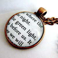 The Great Gatsby Quotes Book Page Necklace Green Light Orgastic Future Upcycled Altered Book Art Jewelry Classic Literature for Book Lovers