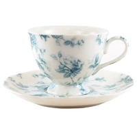 Blue Rose Toile Cup and Saucer
