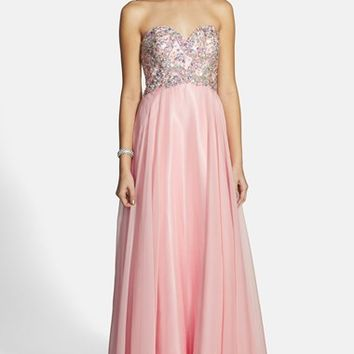 Women's Alyce Paris Embellished Strapless Chiffon Gown,