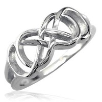 Double Infinity Symbol Ring, Best Friends Forever Ring, Sisters Ring, 8mm in Sterling Silver - size 6