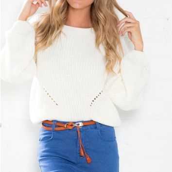 Give It Up Sweater in White