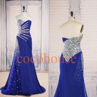 Fashion Dark Royal Blue Long Crystals Prom Dresses Fashion Party Dresses Evening Gowns Homecoming Dresses Evening Dress Wedding Party Dress