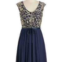 ModCloth Mid-length Cap Sleeves A-line Evening Haute Cocoa Dress