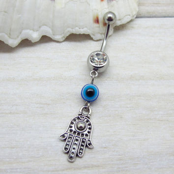 Antique silver  hamsa belly button ring , blue evil eye belly button ring,  navel piercing, belly button ring jewelry,unique gift
