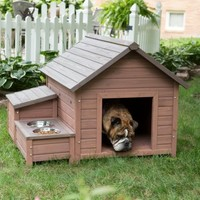 Boomer & George A-Frame Dog House with Food Bowl Tray and Storage Cubby - Large Size | www.hayneedle.com