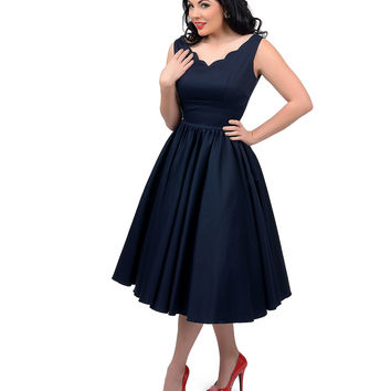 1950s Style Navy Blue Cotton Sateen Scallop Brenda Swing Dress