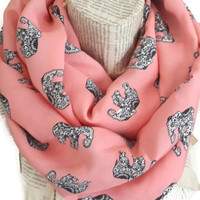 Elephant Salmon Scarf Shawl Cowl Scarf Wrap Women, Scarf Gift Cotton Scarf Scarves Elephant Gift Ideas For Her