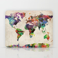 World Map Urban Watercolor Laptop & iPad Skin by ArtPause