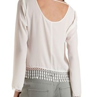 White Chiffon Top with Crocheted Fringe by Charlotte Russe