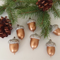 6 Real Acorn Christmas Tree Ornaments Bronze with Silver Glitter Caps / Handmade by FeistyFarmersWife