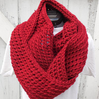 READY TO SHIP, Large Wine Red Chunky Scarf, Infinity Scarf, Fall Winter, Women's Accessory, Cowl