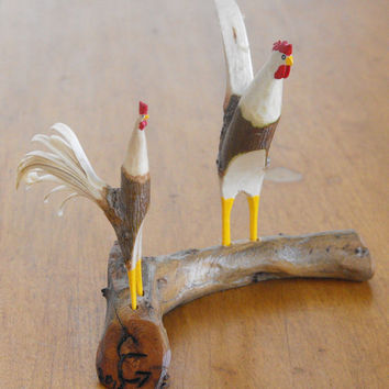 hand carved roosters 0220