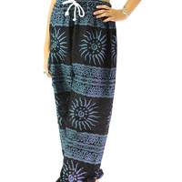 black hippie boho pants boho clothing sun stripe one size fits all strenchy pants pantalon thai unisex