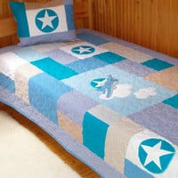 Twin handmade Quilt Bedding, Airplane Quilt, Patchwork Bedding, White, Blues, & Brown with Star quilt pillow cover - HET