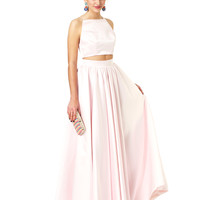 Two piece, full skirt and crop top set Pale Pink Kat - Killer Formal Dresses, Evening Gowns, Prom Dresses, Bridesmaid Dresses | Fame & Partners
