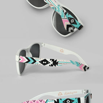 Sunglasses - Aztec print Tribal trend fashion sunglasses unique hand painted - pastel pink teal natural black