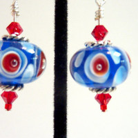 Red White Blue Earrings Red White Blue Glass by Elegencebyelaine