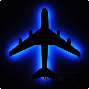 Airplane Wall Light - Bright Blue LED Lamp - Aircraft Decorations