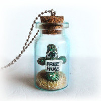 Free hugs cactus in a bottle necklace, funny, cute, sad, lonely cactus