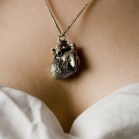 Anatomical Heart Necklace in antique silver on an by billyblue22