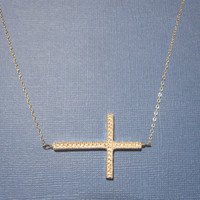 Horizontal Sideways Cross Necklace in gold or by MarisaLeeDesigns