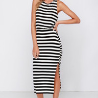 Cool and Collected Black and Ivory Striped Midi Dress