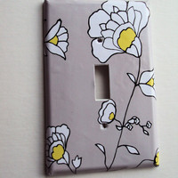 Yellow and Gray Switch Plate Art Cover in Single or Double