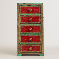 Red and Blue Wooden 5-Drawer Box - World Market