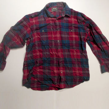 """Red Blue Plaid """"National Outfitters"""" Flannel Shirt Size Medium/Large"""