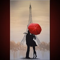 """Amy Giacomelli Painting Original Large Paris France Love Red Umbrella .... 24 x 36 ... titled """"Love In Paris"""""""