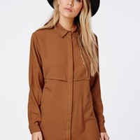 Missguided - Trench Style Shirt Dress Tan