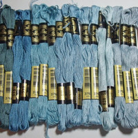 DMC Embroidery Floss 28 skeins shades of blue by purrfectstitchers