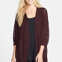 Junior Women's Painted Threads Oversized Sheer Knit Cardigan