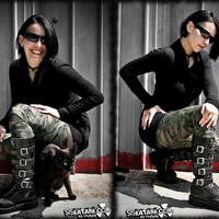 MILITARY green LEGGINGS army BROKEN ripped  post apocalyptic