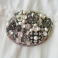 Women's Belt Buckle, Vintage Belt Buckle, Mixed Media Belt Buckle, Collage Belt Buckle