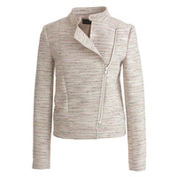J.Crew Womens Asymmetrical Zip Jacket In Pink Pepper Tweed